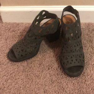 Olive green block heels